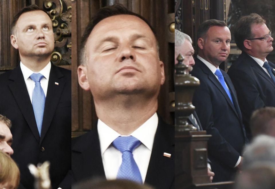 Opalony i zadumany Andrzej Duda robi miny na Wawelu ...
